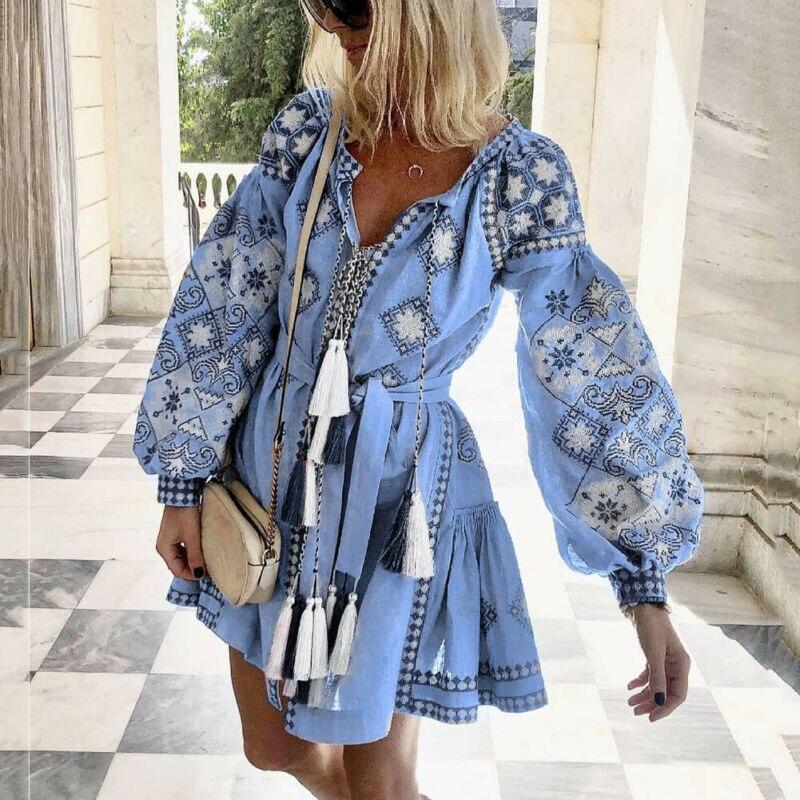 Женское платье с кисточками, на шнуровке, в стиле бохо, Цветочный, v-образный вырез, цветочный принт, бохо, платье с деревянными ушками, оборками, фонарь, длинный рукав, Мини Короткое платье