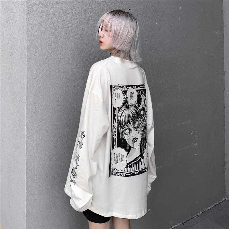 Gothic Cartoon Horror Graphic T-shirt Women Character Print Loss Punk Japanese T-shirts Trui Top Harajuku Street Tees Shirt