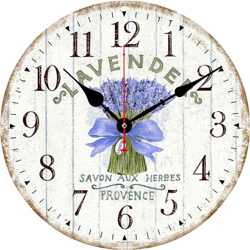 Reloj de pared antiguo de flores, reloj de pared Vintage, pared de reloj grande, horlogo redondo, decorativo rústico Retro