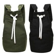 AUAU-2x décontracté hommes toile grande capacité baril sac à dos voyage sac à dos Pack adolescent sac décole (armée vert et noir)