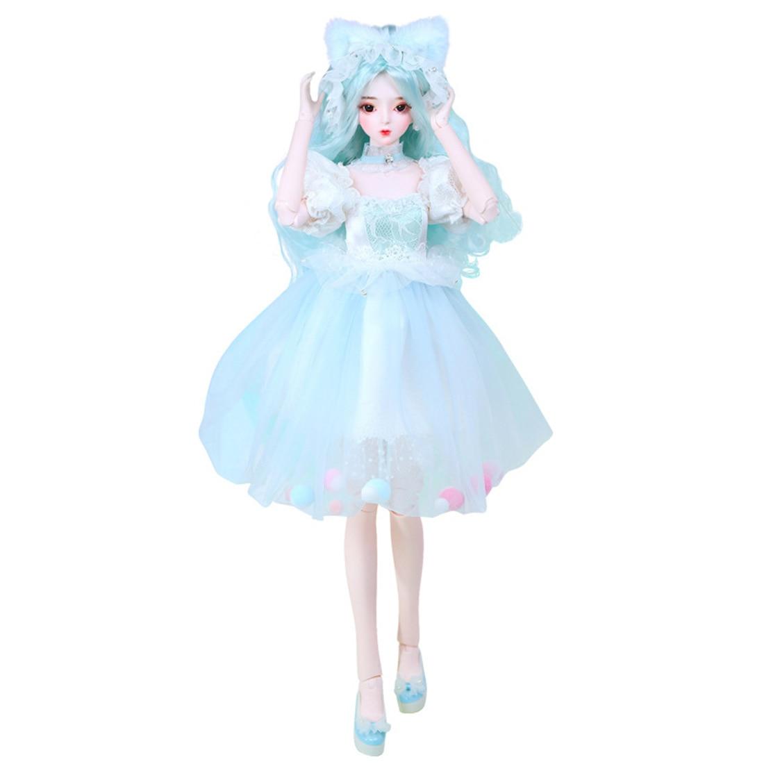 Muñeca BJD de 60cm, conjunto de muñecas de princesa de boda, juguetes de moda para niños, maquillaje pintado a mano de manesa (cara desmontable/cabeza integrada)