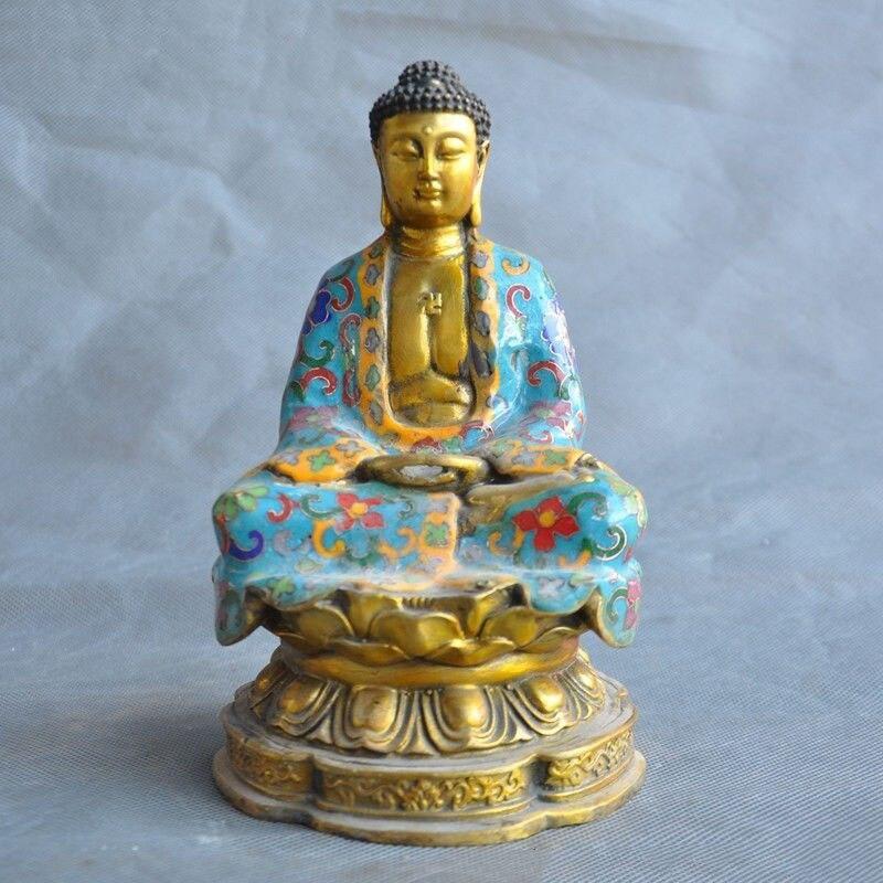 "Navidad 7 ""bronce Tibet Cloisonne dorado Sakyamuni Amitabha Tathagata estatua Buda Rulai de halloween"