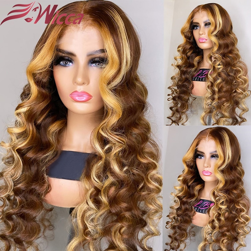 Ombre Highlight Wig Blonde Colored 13×4 Lace Human Hair Wig 180% Wavy Curly Lace Front Wig Brazilian Remy Lace Front Human Wig