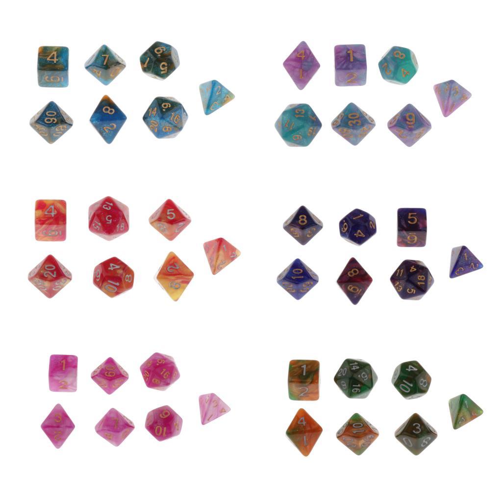 Conjunto de dados poliédricos, 7 peças, conjunto para dungeons e dragons, jogo de papel d & d, ensino de matemática-cores selecionais