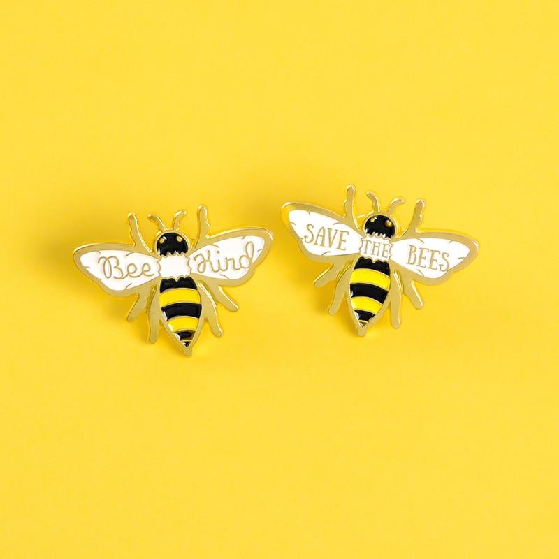 """Broche de esmalte """"Bee kind"""", broche con insignia de insecto de dibujos animados, ropa de animales, mochila, broche de solapa, joyería, regalo para niños y mujeres"""