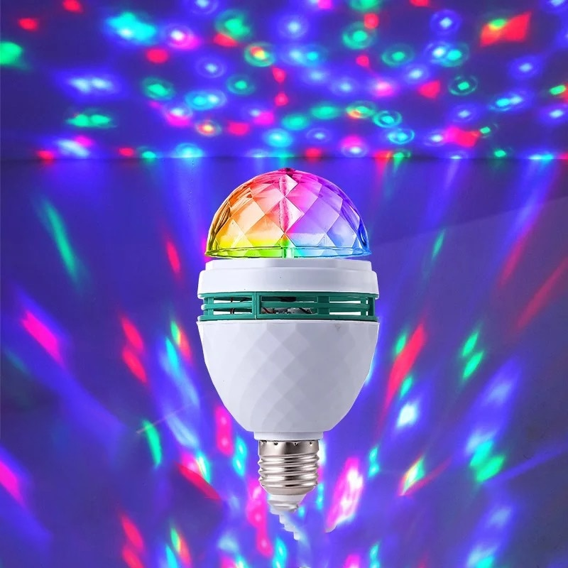 Neon Color Rotary Disco Ball Light E27 Crystal Magic Lamp 3W Colorful Projection Lamp DJ KTV Bar Stage Color Change Atmosphere