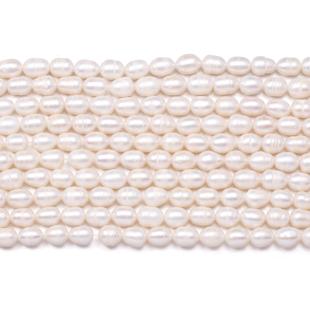Natural Freshwater Pearls Beaded Elliptical White Pearl Loose Spacer Beads For DIY Necklace Bracelet Jewelry Making Strand 14''  - buy with discount
