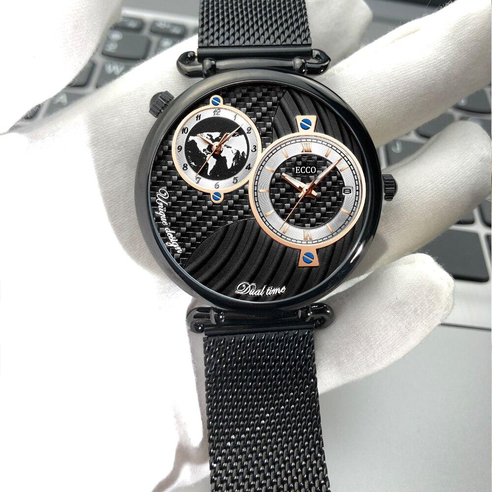 Luxury Brand TOP Watch Men Men Stainless Steel Business Men Wrist Watch Relogio Masculino Dual time zone