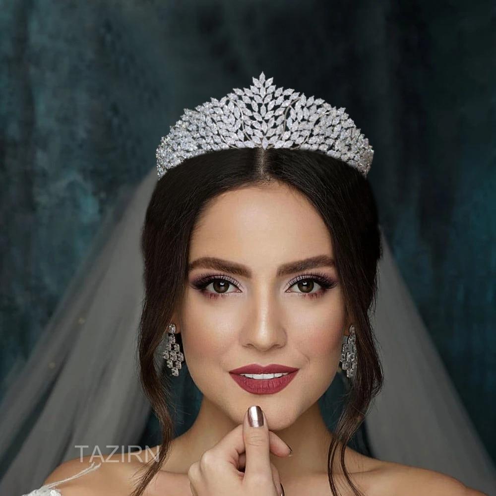 5A Cubic Zirconia Crowns and Tiaras for Women Wedding CZ Elegant Queen Headpieces Big Headwear Bridal Hair Jewelry Accessories