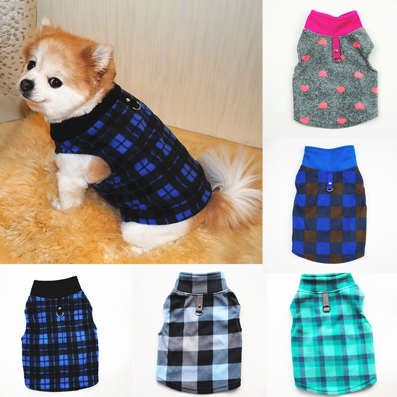 Cute Check Dog Clothes For Small Dogs Winter Fleece Pullover Pet Dog Vest Hoodies Warm Thicken Cat Pet Costume Outfits Jacket