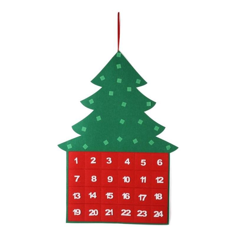 24 días cuenta regresiva de Navidad calendarios DIY árbol de Navidad fieltro arte hecho a mano colgando de la pared decoración de Navidad de los niños chico regalo 2019
