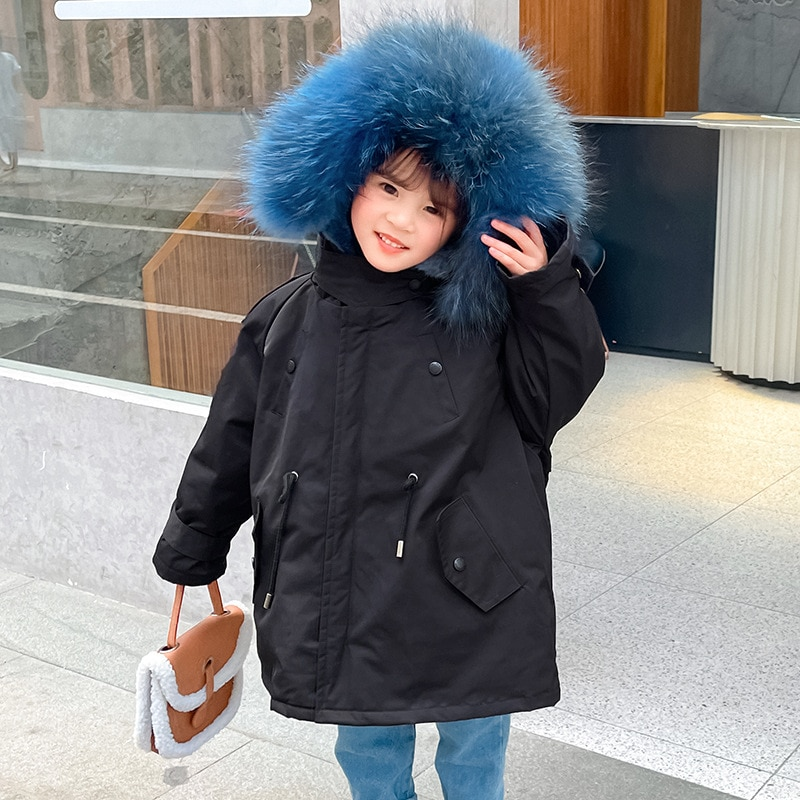 Real Fur Warm Kids Boy Jacket Winter Hooded Baby Girl Snow Coats Outdoor Children Cold Clothes Thick Windproof Snow Outerwear enlarge
