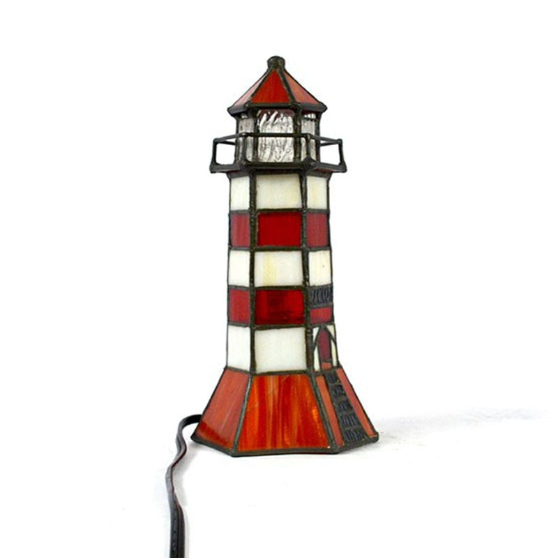 Tiffany Style Table Lamps 9 Inch High Pure Handmade Stained Glass Lighthouse Tower 220v ~240v European Standard Living Room Bed enlarge