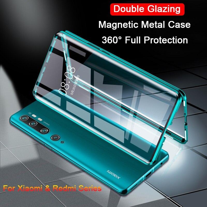 Funda metálica magnética de doble cara para Xiaomi mi 9 SE CC9 A3 Lite POCO F1 9T funda de vidrio para Red mi K30 K20 Note 8T 8 7 10 Pro