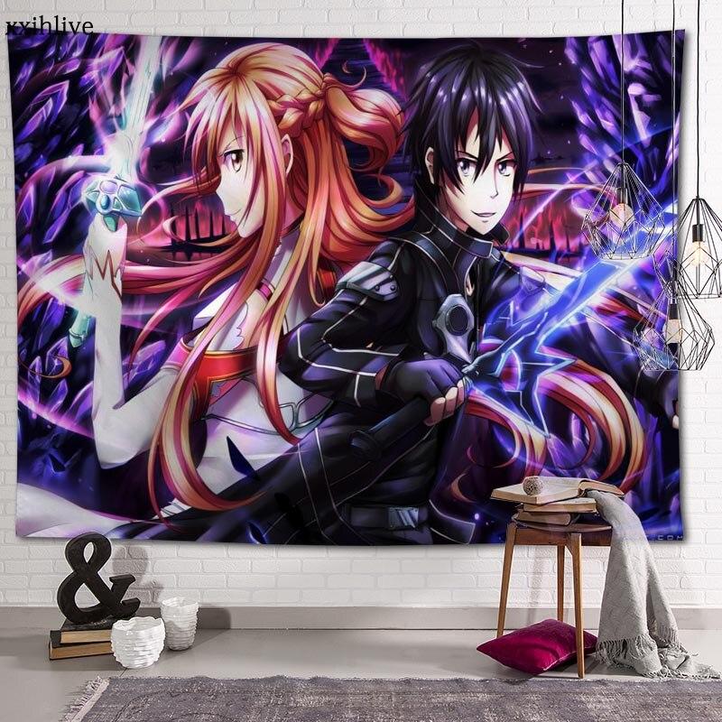 Гобелен на заказ с изображением аниме меча, большие настенные гобелены с онлайн-печатью, хиппи, настенные подвесные богемные украшения для ...