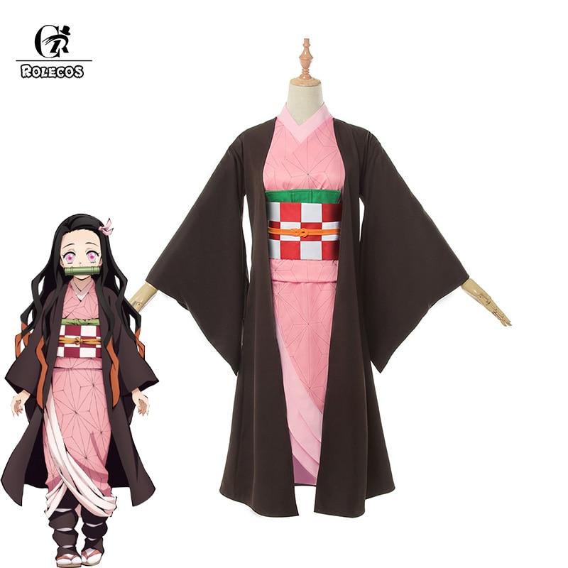 ROLECOS аниме Kimetsu no Yaiba Косплей Костюм Nezuko Kamado костюм демон Slayer кимоно полный набор для мужчин Косплей Костюм
