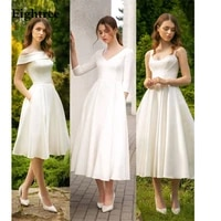 3 designs princess simple short wedding dress satin beach bridal gowns a line pleated marriage modest wedding gowns 2021