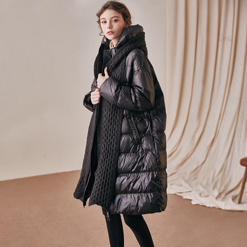 Janveny chaqueta impermeable 2020 chaqueta de plumón para mujer 90% plumón de pato blanco con bufanda con capucha larga Mujer pluma Puffer Parkas