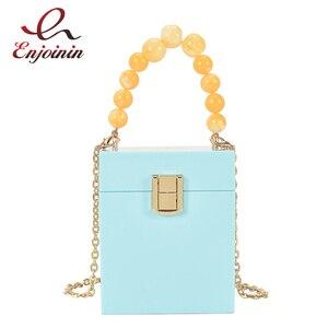 Acrylic Box Beaded Handbag for Women Fashion Designer Bag Purse Female Party Clutch Shoulder Chain Bag Crossbody Weeding 2021