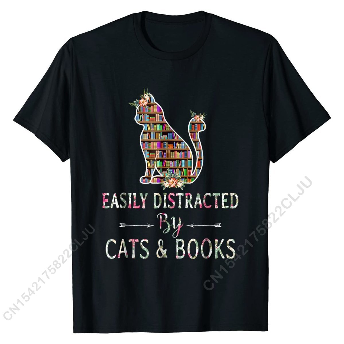Cat Lover - Book Easily Distracted By Books Cotton Casual Tops Shirts Faddish Men T Shirt Design