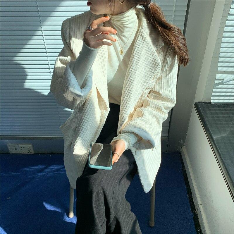 Suit coat women autumn winter 2020 new spring and Korean corduroy white womens blazers  velvet blazer