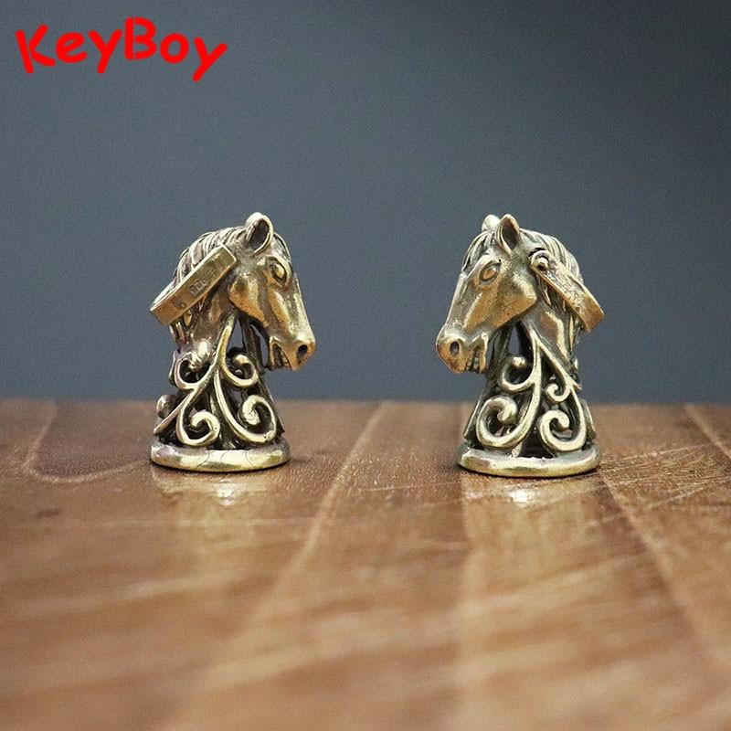 Vintage cobre caballo cabeza campana pequeño colgante para coche llavero latón Animal de la suerte campanas llaveros colgantes joyas regalos