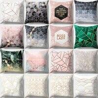 geometric printed pillow case polyester throw pillow cases sofa cushion cover 45x45cm home decor cotton abstract pillowcase