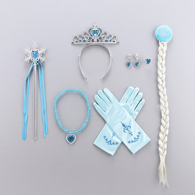 Princesa acessórios conjunto vestir-se belle coroa neve branco sofia colar cinderela brinco aurora luvas rapunzel anna elsa peruca