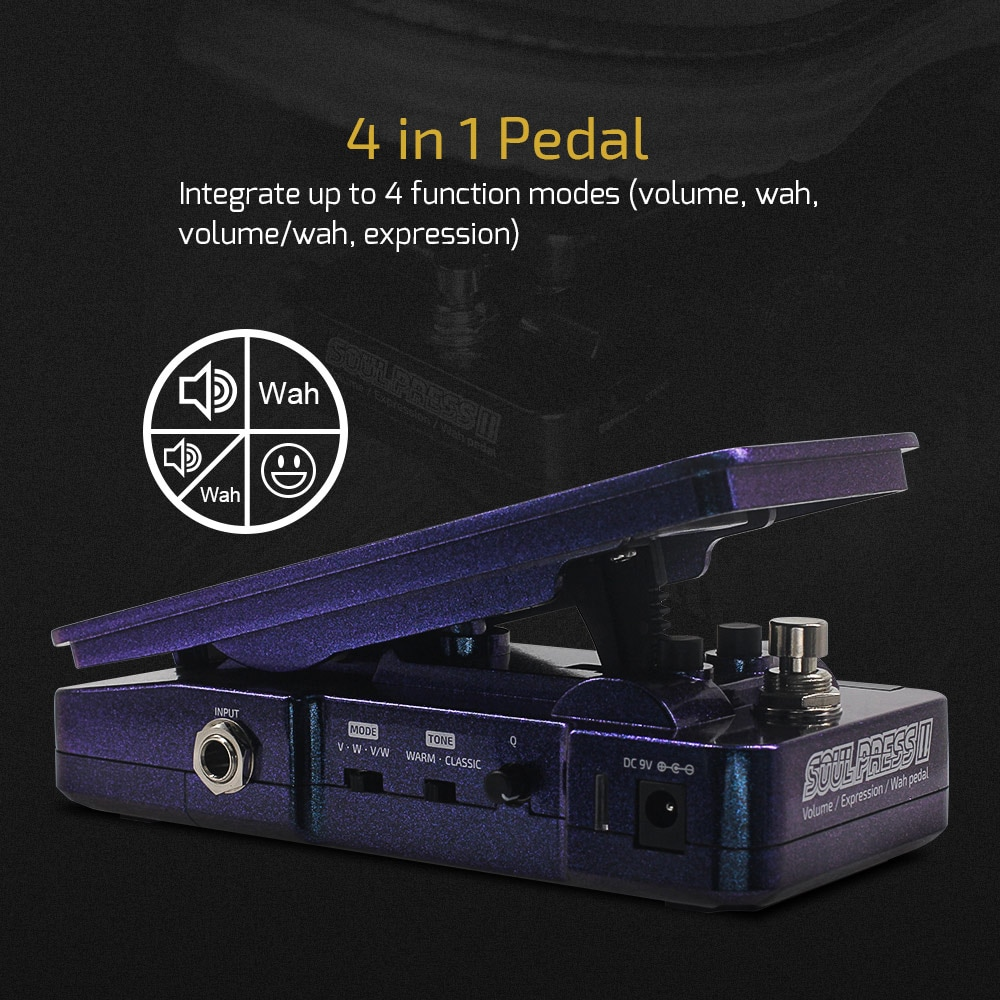Hotone Soul Press II 4 in 1 Switchable Wah Active Volume Passive Expression Effects Pedal with Visible Pedal Position Indicators enlarge