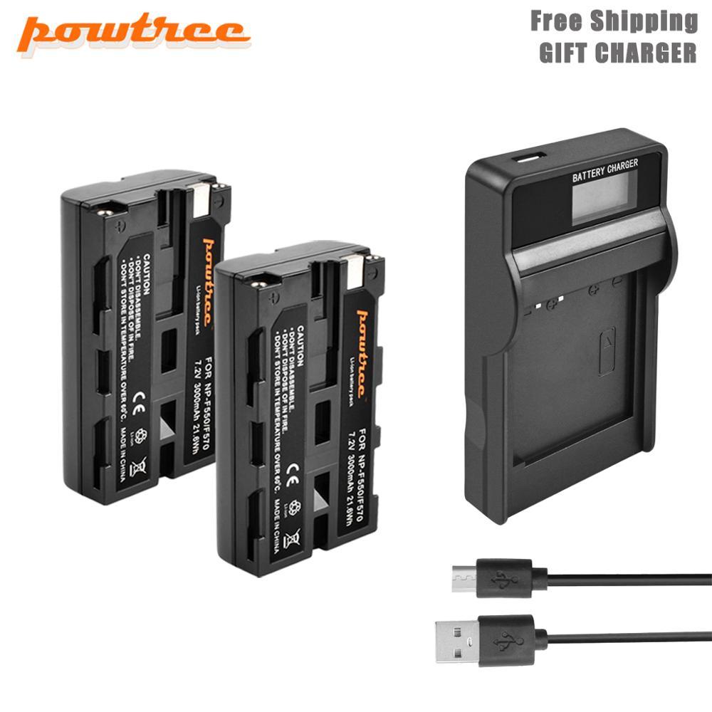 Powtre NP-F550 Li-Ion de la batería de 7,2 V 3000mAh batería de la batería LED + cargador para Sony NP-F550 NP-F770 NP-F750 F960 F970 L50