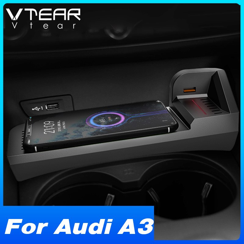 Vtear 15w Qi Car Wireless Charger  For Audi A3 8v Accessories Interior Modification Parts Fast Phone Charging Plate 2014-2021