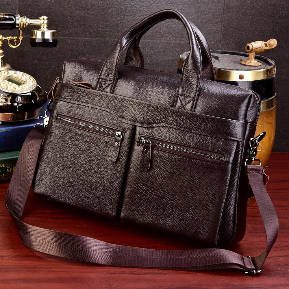 Business Laptop Bag Men Genuine Leather Handbags Male Travel Briefcases High Quality Cowhide Messenger Bags