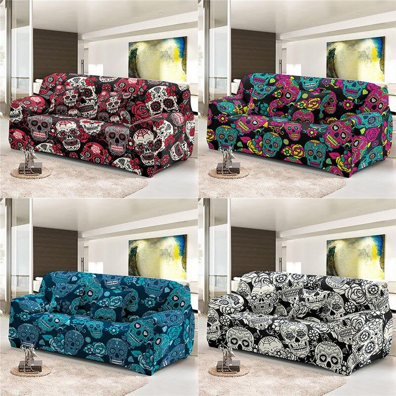 Boniu الجمجمة الطباعة مرونة غطاء أريكة غرفة المعيشة ديكور تمتد الغلاف ل L-شكل الاقسام الأريكة أغطية حماية