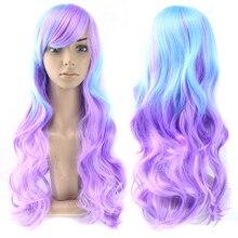 Fairy wee-perruque synthétique longue 13 couleurs   Perruque ondulée en Fiber de haute température, postiche Ombre, perruque de Cosplay pour femmes