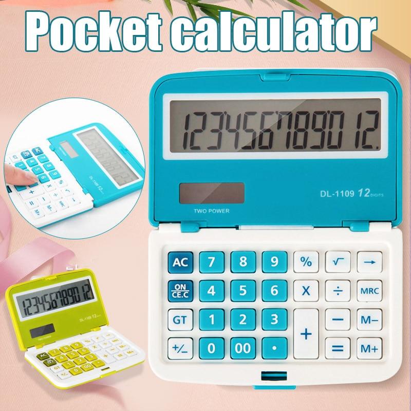 Nueva Mini calculadora Solar plegable de 12 dígitos Doble potencia calculadora electrónica de oficina con bolsillos DOM668