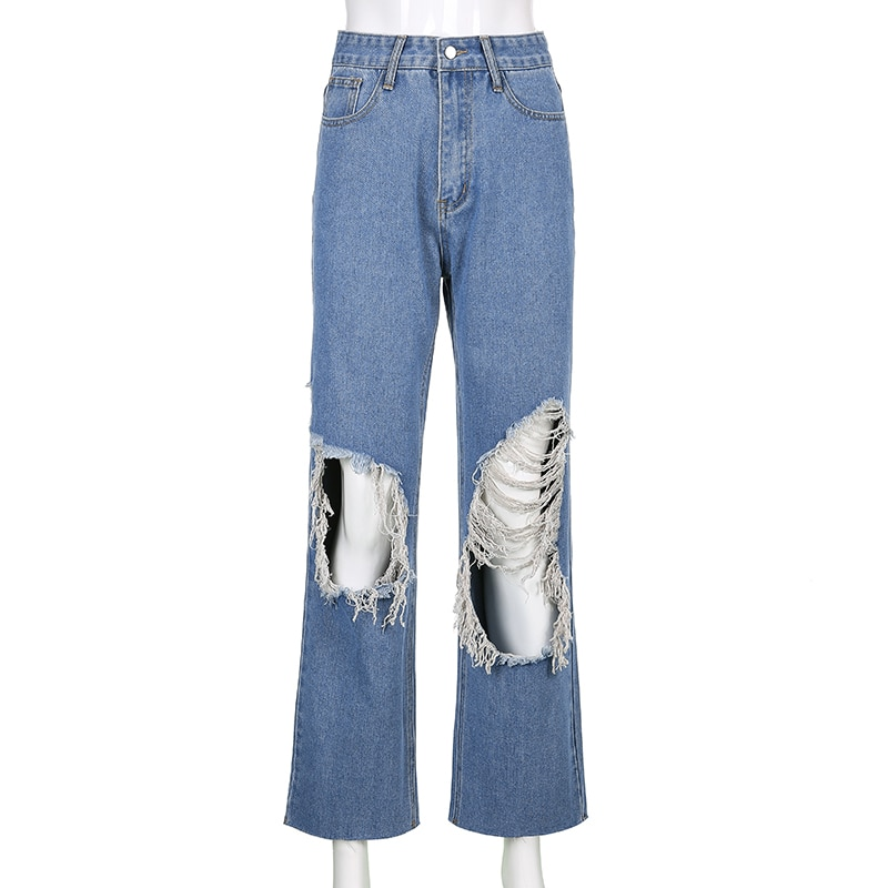 Hole Ripped Jeans Women's Loose Oversize Jeans Women Cargo Pants Overalls Female Harajuku Y2k Trousers Vintage 90s  - buy with discount
