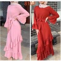 2021 new arab girls turkish muslim dress islamic daily leisure spring and autumn net red robe