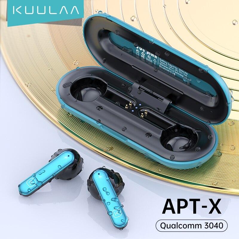 Fones de Ouvido sem Fio Cancelamento de Ruído Toque de Impressão Ipx5 à Prova Kuulaa Verdadeiro Bluetooth 5.2 Enc Aptx hd Estéreo Digital Dwaterproof Água Qcc 3040