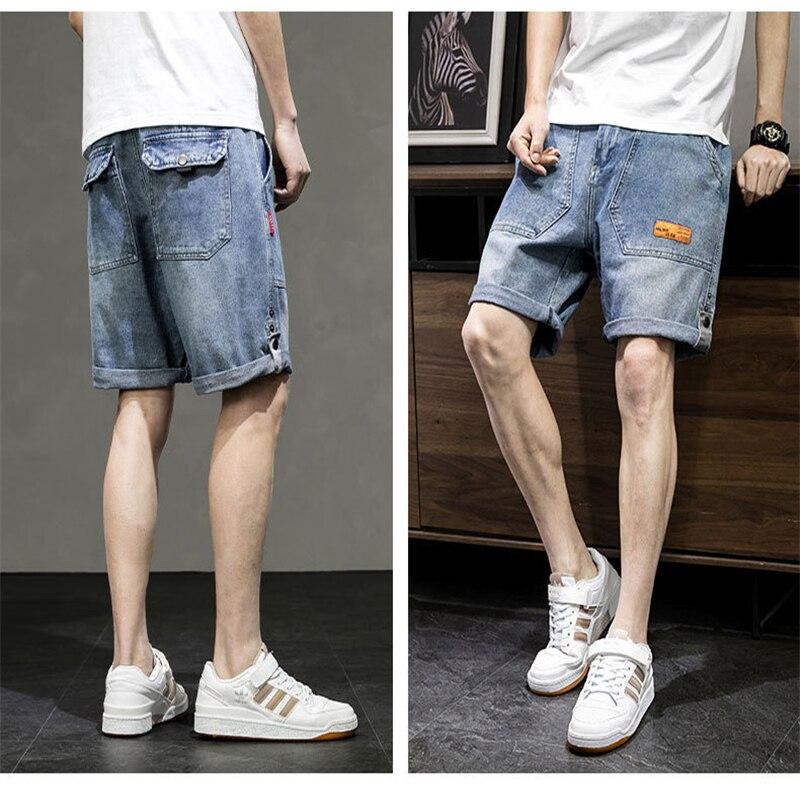 Джинсовые шорты для мужчин, Новинка лета 2021, свободные пятиконечные мужские комбинезоны больших размеров, бриджи, Брендовые брюки средней д...