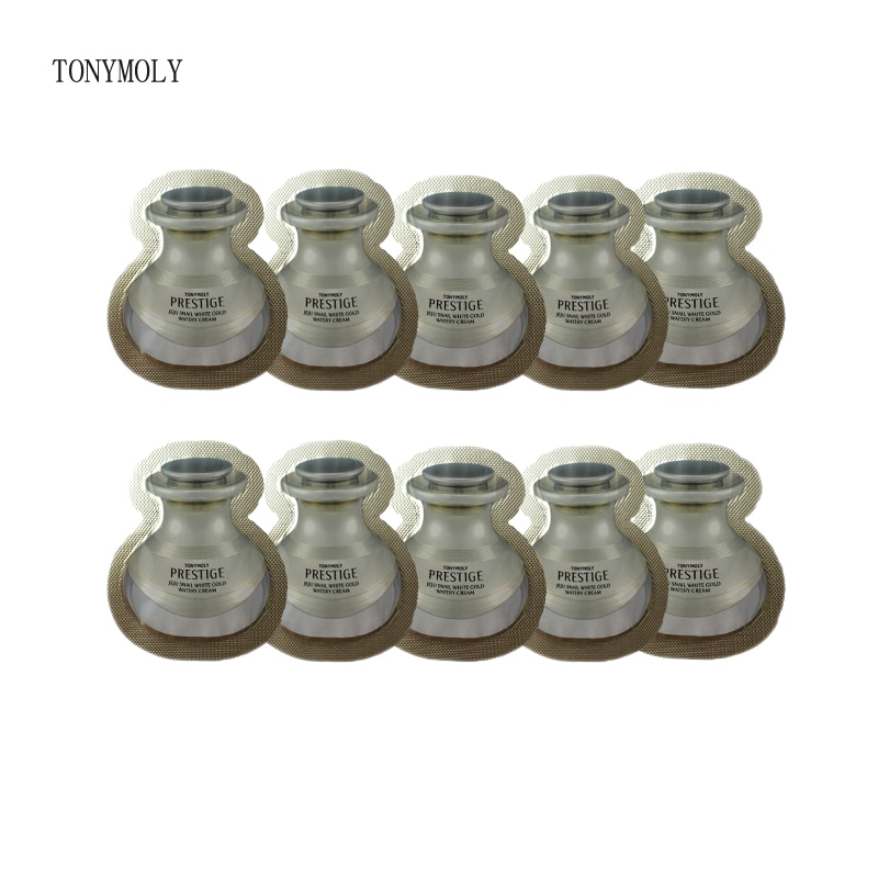 TONYMOLY  Prestige Jeju Snail White Gold Watery Cream Sample 10pcs Hydrating Whitening Cream Moisturizing Day Cream Facial Care