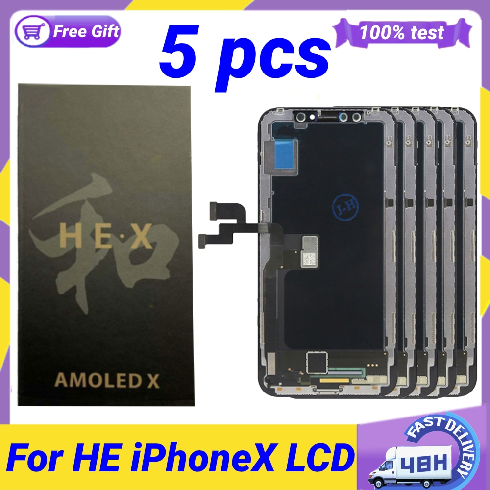 Get 5 Pcs AAA+ HE OLED for iPhone X LCD iPhoneX OLED Display Replacement Assembly Digitizer Touch Pantalla Perfect Repair Free Gifts