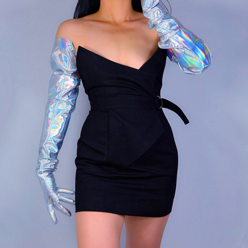 """Guantes largos de látex de imitación brillante, patentados, de 35 """"y 90cm, holograma plateado, brillo, Holo, guantes de cuero para mujeres WPU237"""