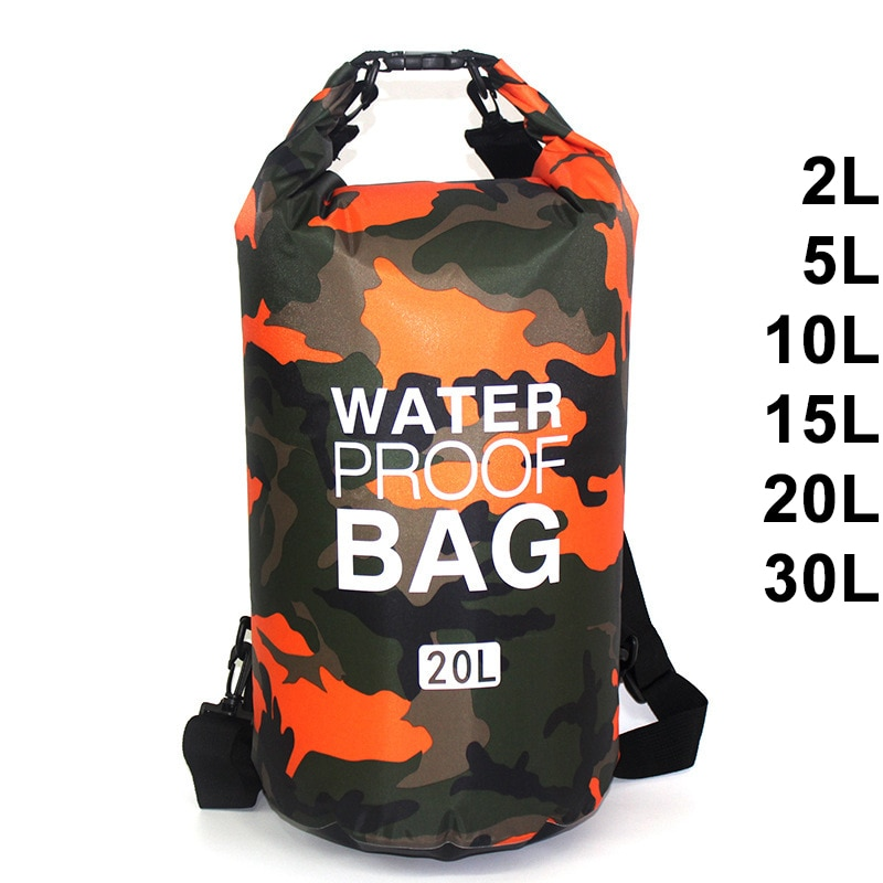 30L Waterproof Swimming Bag Dry Sack Camouflage Colors Fishing Boating Kayaking Storage Drifting Rafting Bag 2L 5L 10L 15L XAZ9