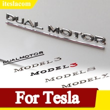 3D Metal Car Decoration Emblem Badge Sticker Decal Accessories For Tesla Model 3 Model S Model X Mod