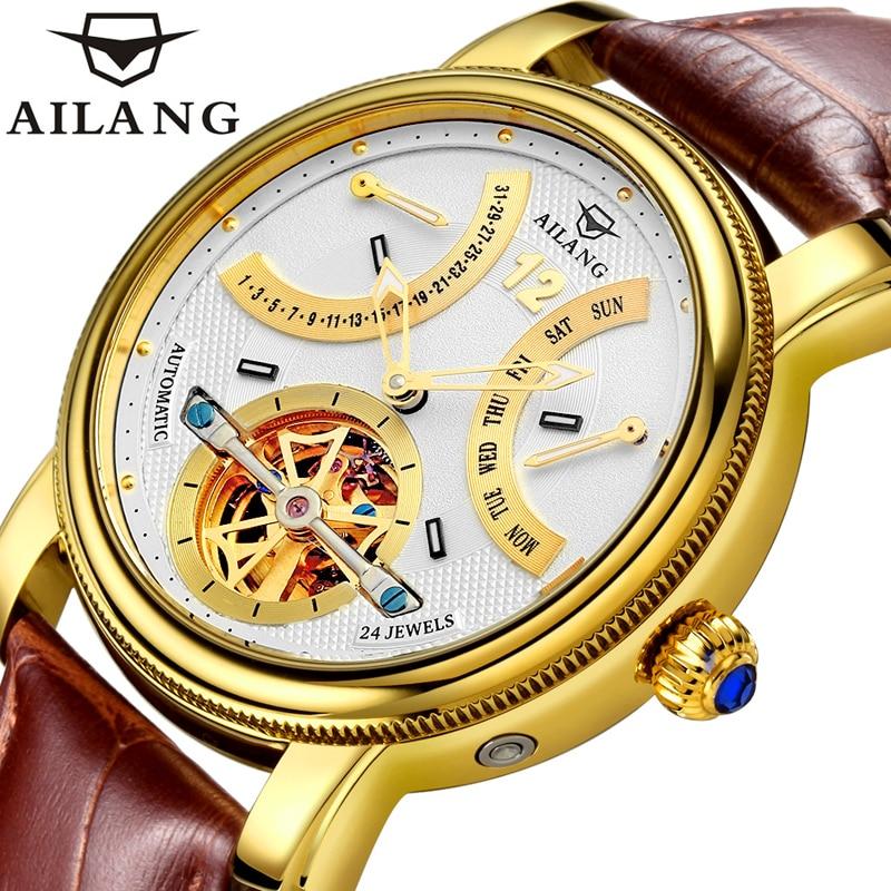 AILANG Men's Business Multifunctional Waterproof Week Month Display Automatic Mechanical Watches Men Watch Creative 5802B