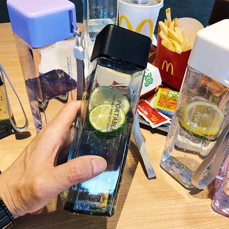 Квадратная пластиковая бутылка для воды, 480 мл, портативная бутылка для напитков, прозрачная бутылка, бутылка для фруктового сока, чашка для ...