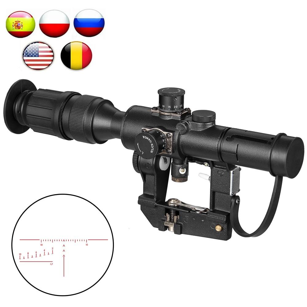 التكتيكية Svd دراغونوف 4x26 الأحمر مضيئة نطاق للصيد بندقية نطاق اطلاق النار Ak نطاق ريد دوت الصيد البصريات الصيد الليزر