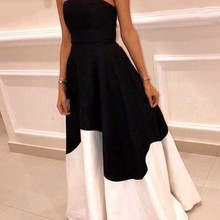 New Arrival Black White Strapless Formal Evening Dresses 2021 A-Line Vestidos De Fiesta Cheap Prom P