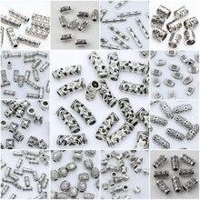 27 stile Tibetischen Silber Rohr Perlen Metall Spacer DIY Perlen Rohr Charms für Schmuck Machen 20/50/ 100Pcs