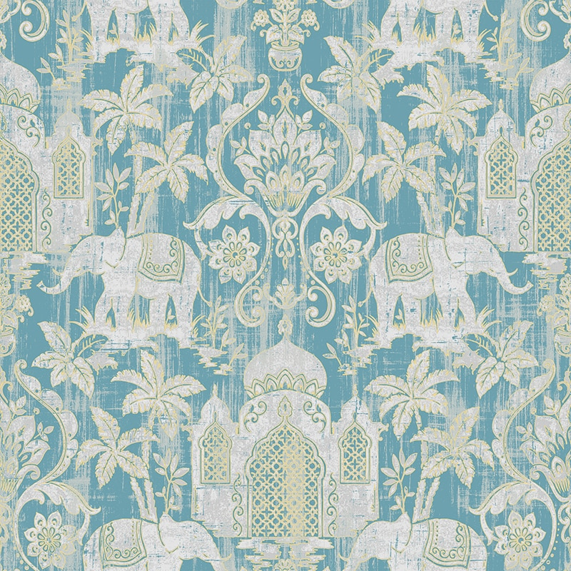 Temple Taj Mahal Elephant Palm Trees Tropical Wallpaper Metallic Shimmer Southeast Asia Thai Style Background Wall Paper недорого